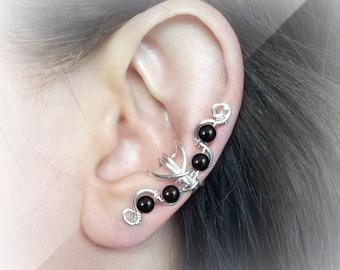 Silver Ear Cuff Black Onyx Silver Ear Wrap