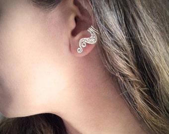 Silver Ear Cuff Silver plated Weave Ear Wrap