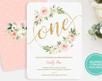 Boho Girls Birthday Invitation Printed Or Printable Floral Babys First Invitations Blush And Gold LR2034