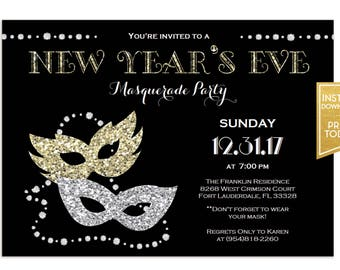 New Years Eve Masquerade Party Invitation Template Instant Download Digital NYE Holiday Invites Printable