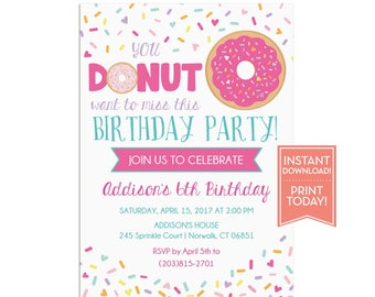 Donut Party Invitation Template - Birthday Printable - Girls Donut Themed Party - Sprinkles Invitation - Editable Instant Download - LR1075