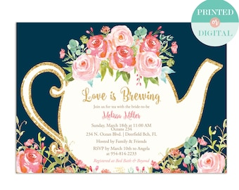 love is brewing bridal shower invitation garden tea party high tea invite bridal tea wedding shower printable lr1050nv