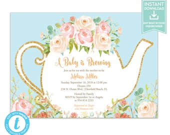 Tea party baby shower invitation etsy tea party invitation instant download bridal or baby shower editable invitation template with teapot lr1050b filmwisefo
