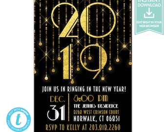 Great Gatsby New Years Eve Party Invitation Instant Download Art Deco NYE Printable Invitations Editable Template LR2028