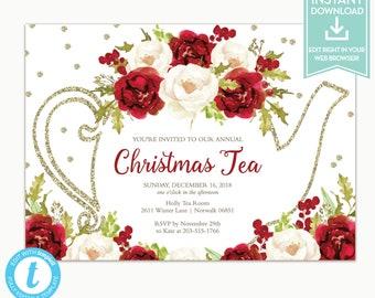 christmas tea party etsy