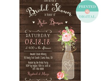 93bffd9eb9fe Rustic Bridal Shower Invitation - Brunch and Bubbly Invite - Birthday  Brunch Invite - Couples Shower - Printed or Printable - LR1055