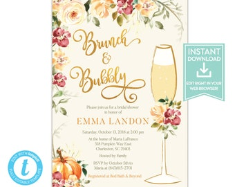 fall brunch and bubbly bridal shower invitation template fall bridal shower invitations editable instant download printable lr2019