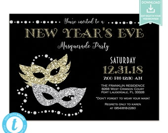 new years eve masquerade party invitation instant download holiday party invitation editable template printable new years eve party