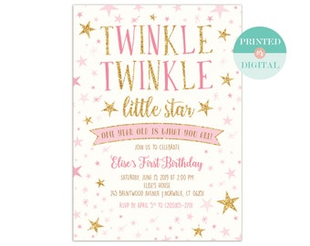Twinkle Twinkle Little Star Birthday Party Invitation Template Etsy