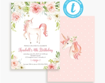 Unicorn Birthday Party Invitation Instant Download TEMPLATE Girls Pink Floral LR2036