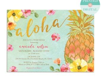 Pineapple Bridal Shower Invitation - Pineapple Baby Shower Invitation - Tropical Luau Invitation - Hawaiian - Printable or Printed - LR1088