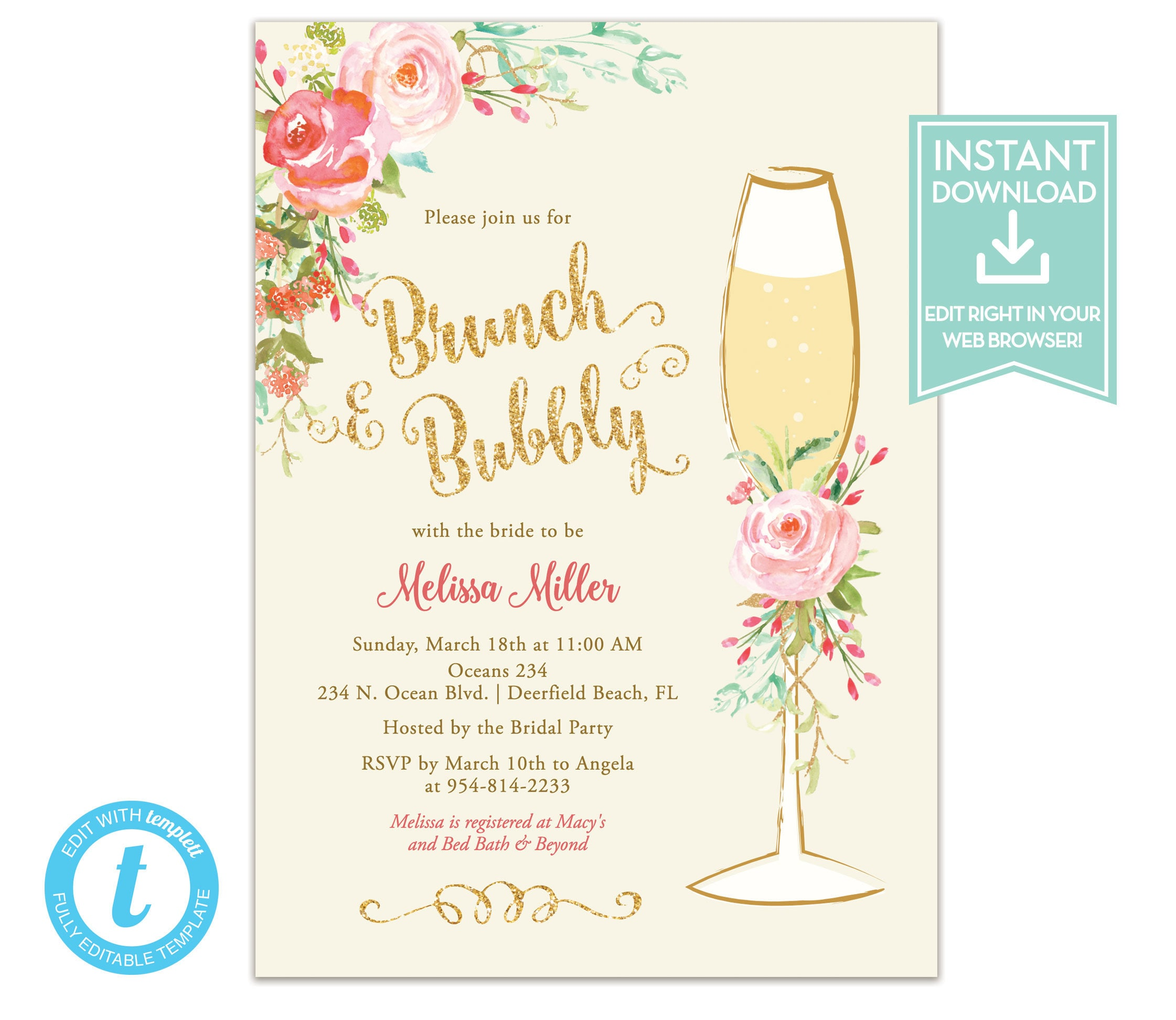 Brunch And Bubbly Bridal Shower Invitation Download