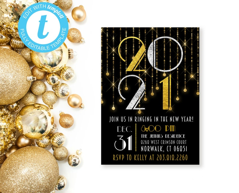 2021 New Year's Eve Party Invitation Template Great | Etsy