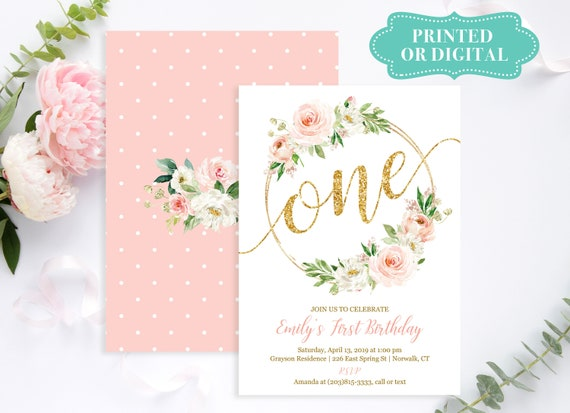 Boho Girls Birthday Invitation Printed Or Printable Floral Baby S First Birthday Invitations Blush And Gold Lr2034