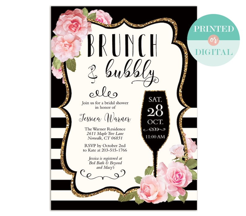 bb9db4a29c2a Floral Stripe Brunch and Bubbly Bridal Shower Invitation
