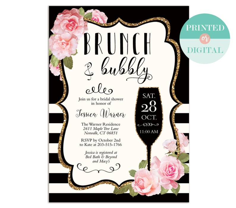 Floral Stripe Brunch And Bubbly Bridal Shower Invitation Black And White Digital Or Printed Printable Lr1089