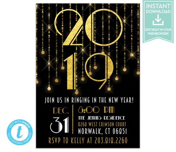 great gatsby new years eve party invitation instant download etsy