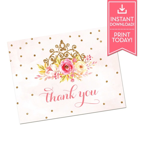 Little Princess Birthday Party Thank You Card Baby Shower Etsy