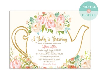 Baby Shower Tea Party Invitation - A Baby is Brewing - Garden Tea Party - Gender Neutral Invitation - Printed or Digital - LR1050N