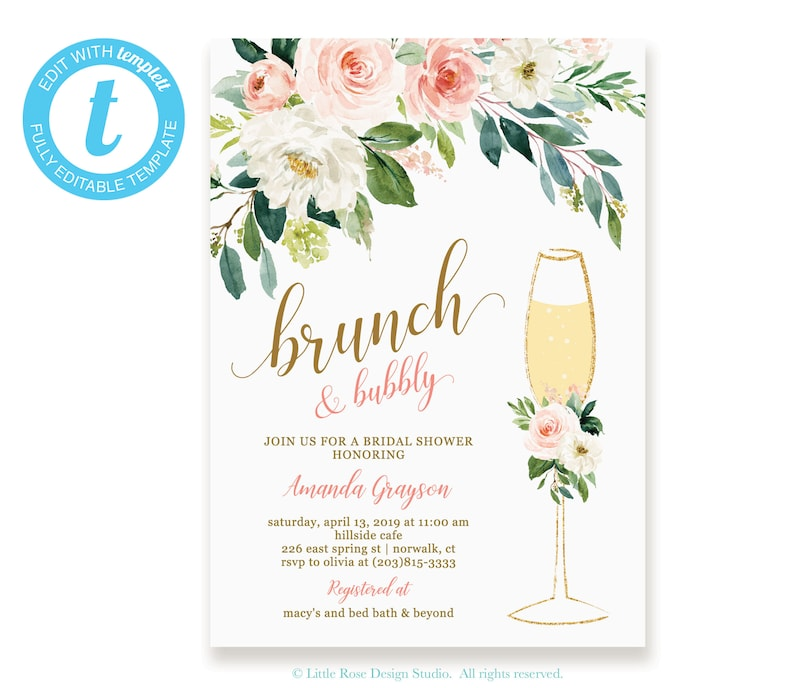 0fe2340a14ca Floral Brunch and Bubbly Bridal Shower Invitation Instant