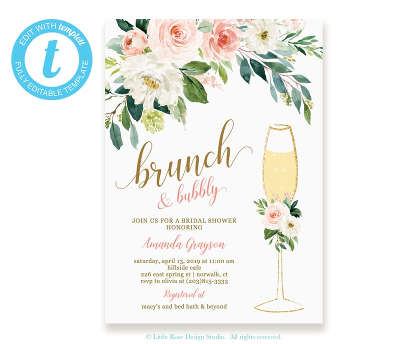 ddc8063fc446 Floral Brunch and Bubbly Bridal Shower Invitation Instant