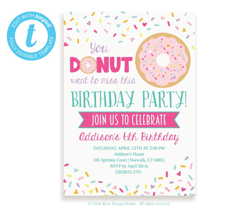Donut Party Invitation Editable Template Birthday