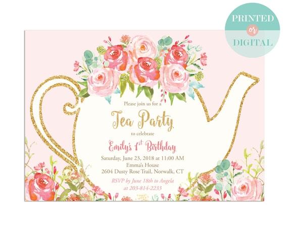 girls tea party birthday invitation printed or digital etsy
