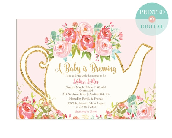 Pink Floral Baby Shower Tea Party Invitation High Tea Etsy