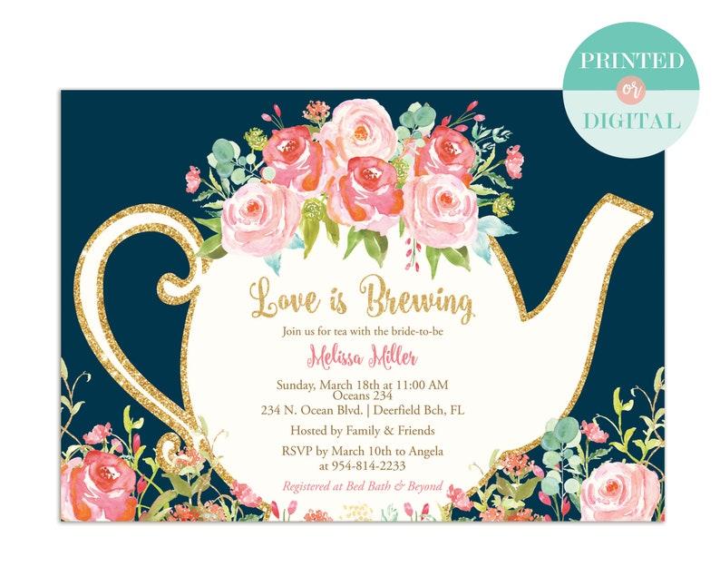 dc7cab9692f Love is Brewing Bridal Shower Invitation Garden Tea Party