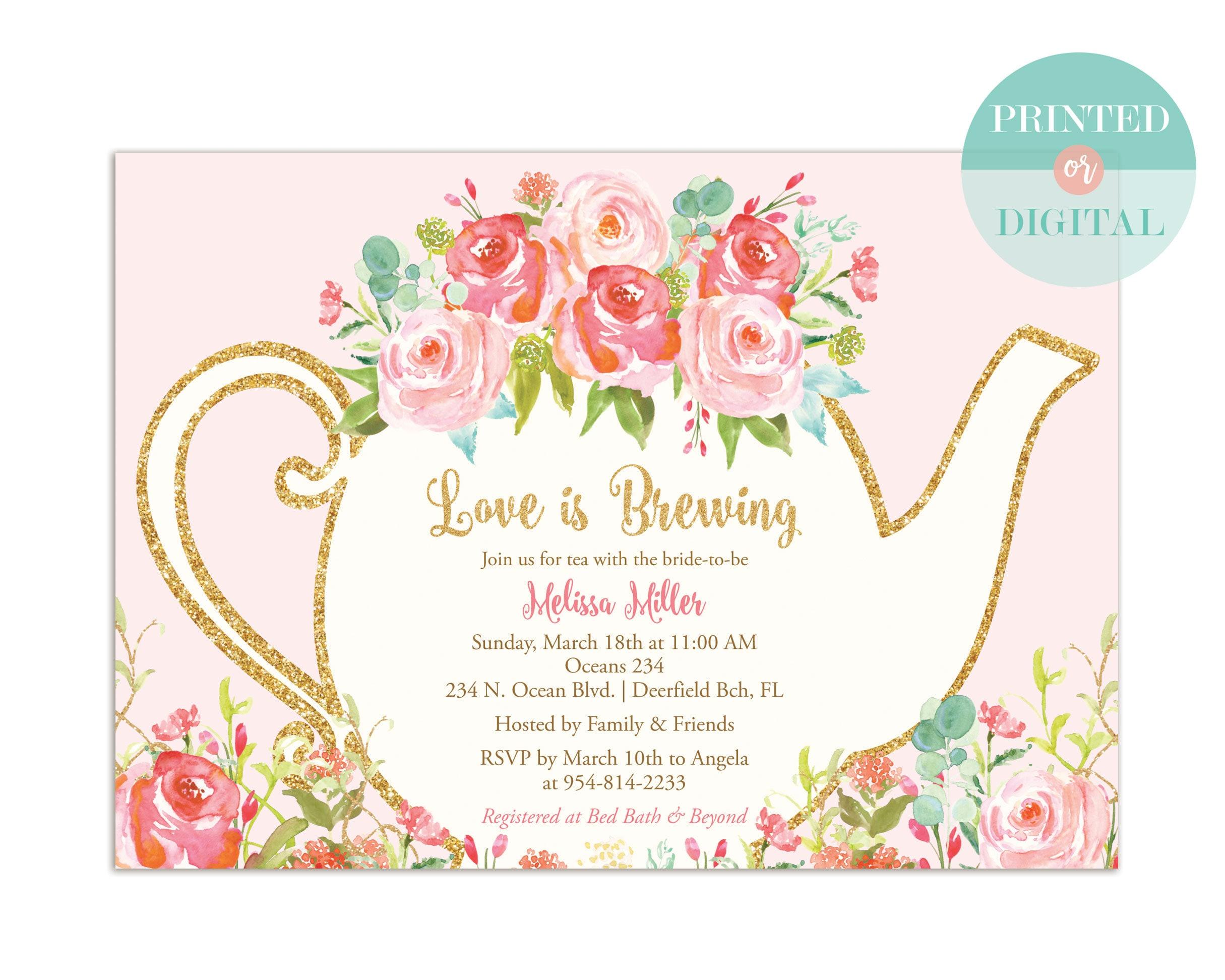 Vintage Tea Party Wedding Invitations: Bridal Shower Tea Party Invitation Garden Tea Party