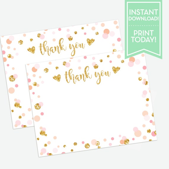 photo regarding Printable Thank You Notes referred to as Confetti Celebration Printable Thank Oneself Card / Thank Oneself Notes / Birthday / Baptism / Boy or girl Shower / LR2013