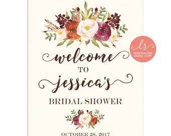 Welcome Sign Fall Floral - Bridal Shower - Baby Shower - Birthday Party - Party Welcome Sign - Personalized Digital - Printable - LR1086