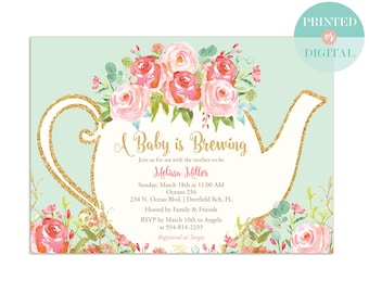 A Baby is Brewing Baby Shower Tea Party Invitation - Garden Tea Party - High Tea Invite - Mint and Pink - Printed or Digital - LR1050M