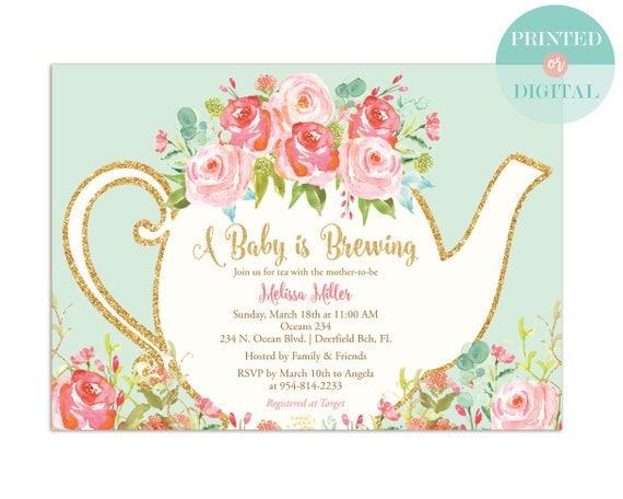A baby is brewing baby shower tea party invitation printed or etsy image 0 filmwisefo