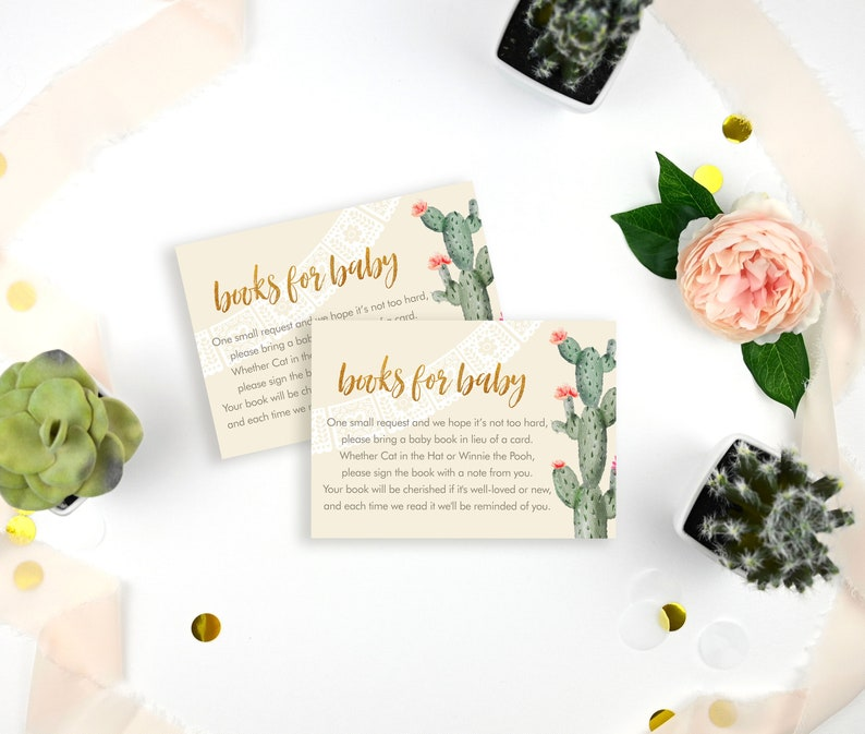 Fiesta Cactus Floral Books for Baby Enclosure Cards Printed  Book Request Cards  Fiesta Baby Shower Book Insert Cards  LR2053