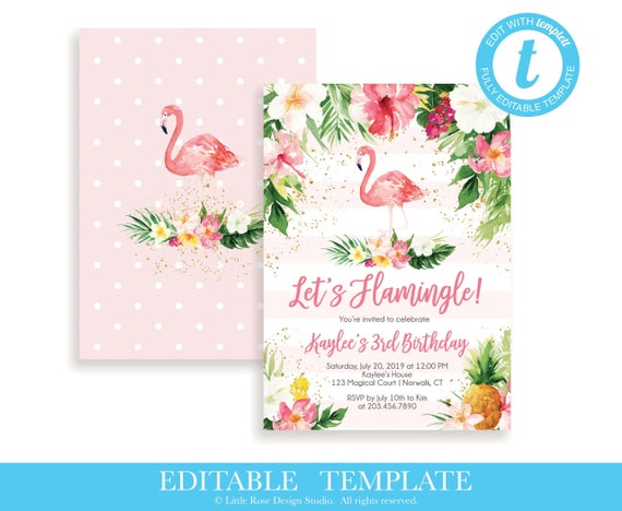 photograph regarding Printable Flamingo Template named Editable Flamingo Birthday Invitation TEMPLATE / Makes it possible for Flamingle Woman Birthday Invite / Printable Tropical Hawaiian Invite / LR2039