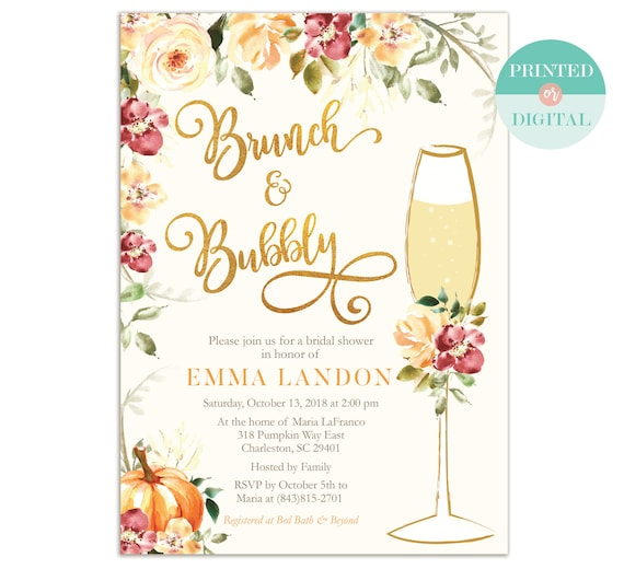 Fall Brunch and Bubbly Bridal Shower Invitation / Fall Bridal Shower Invitations / Fall Wedding Stationery / Printed or Printable / LR2019