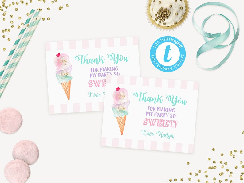 picture about Thank You Notes Printable referred to as Ice Product Bash Thank Your self Card Printable / Thank Oneself Notes / Ice Product Social Birthday Thank By yourself Playing cards / Child Shower / LR2016
