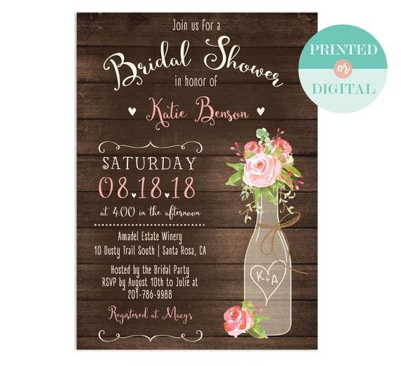 Rustic bridal shower invitation wine vineyard brunch and filmwisefo