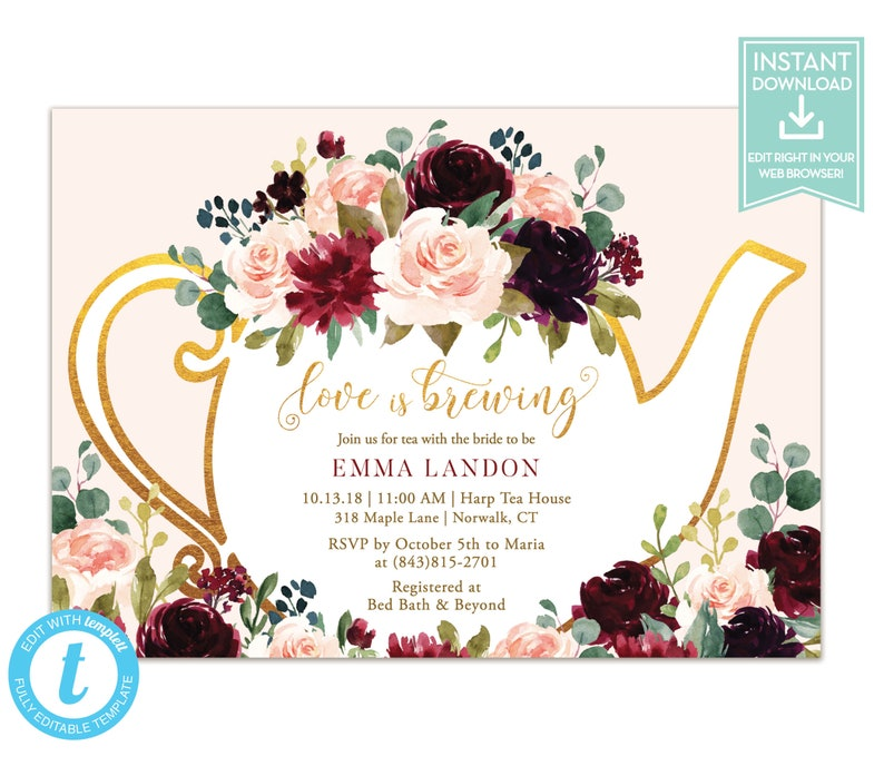 5b7f5936263d Fall Tea Party Shower Invitation Template   Love is Brewing
