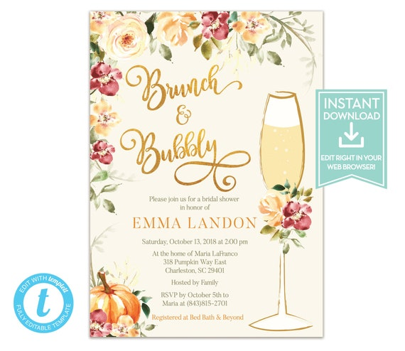 Fall Brunch And Bubbly Bridal Shower Invitation Template Etsy