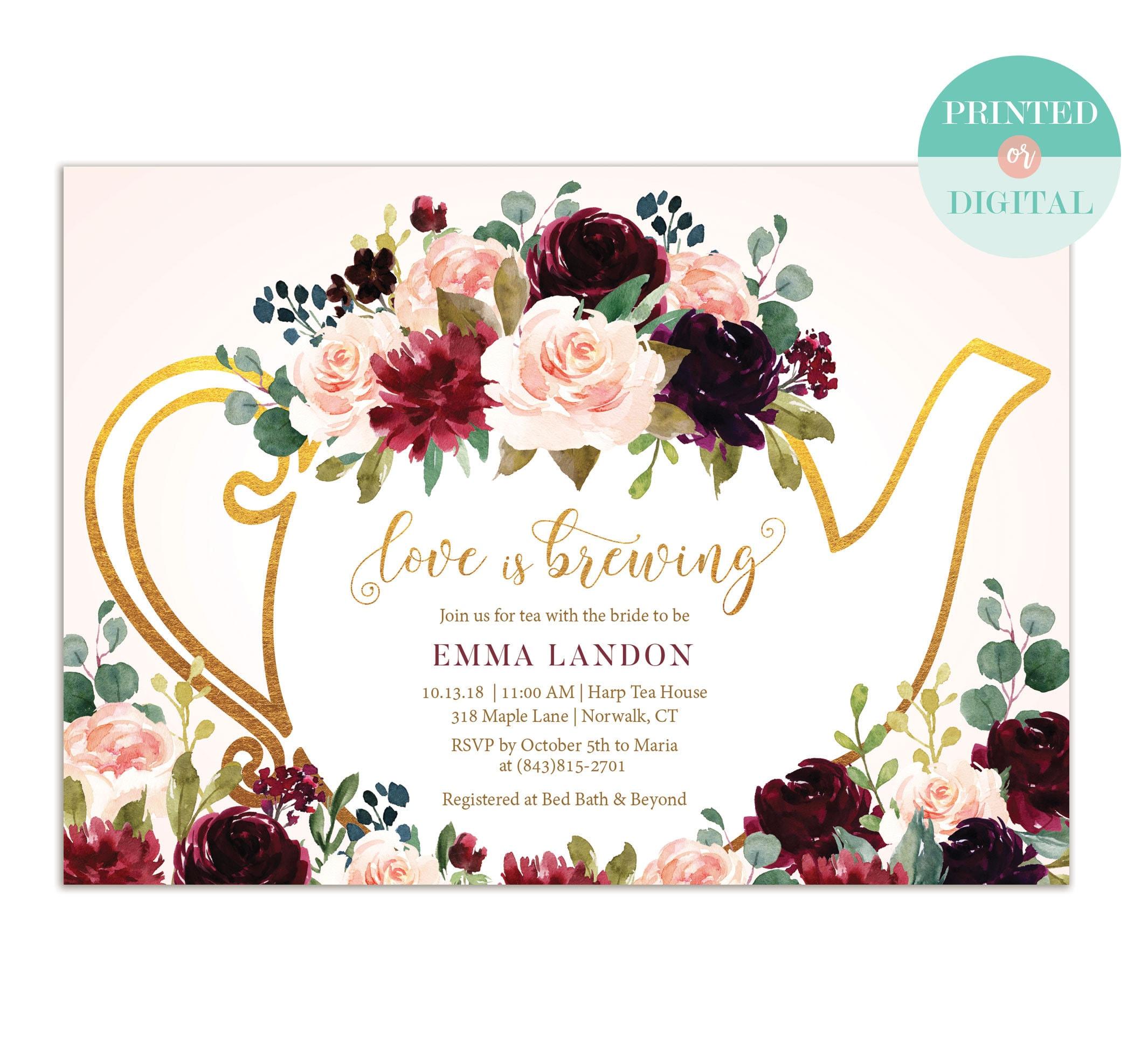 bfebcf96ba9 Bridal Tea Party Invitation Blush and Burgundy   Tea Party