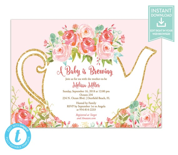 Tea party invitation template floral teapot bridal shower etsy image 0 filmwisefo