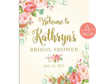 Welcome Sign - Bridal Shower - Baby Shower - Birthday Party - Party Welcome Sign - Personalized Digital - Printable Welcome Sign - LR1050