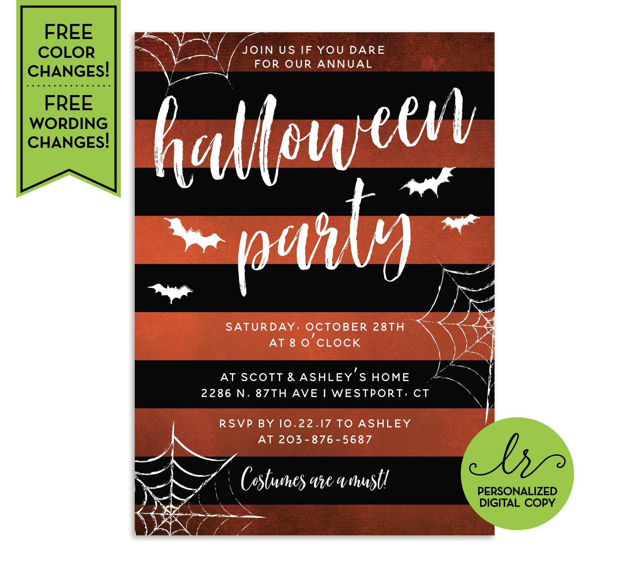 Halloween Party Invitation Orange and Black Stripes | Etsy
