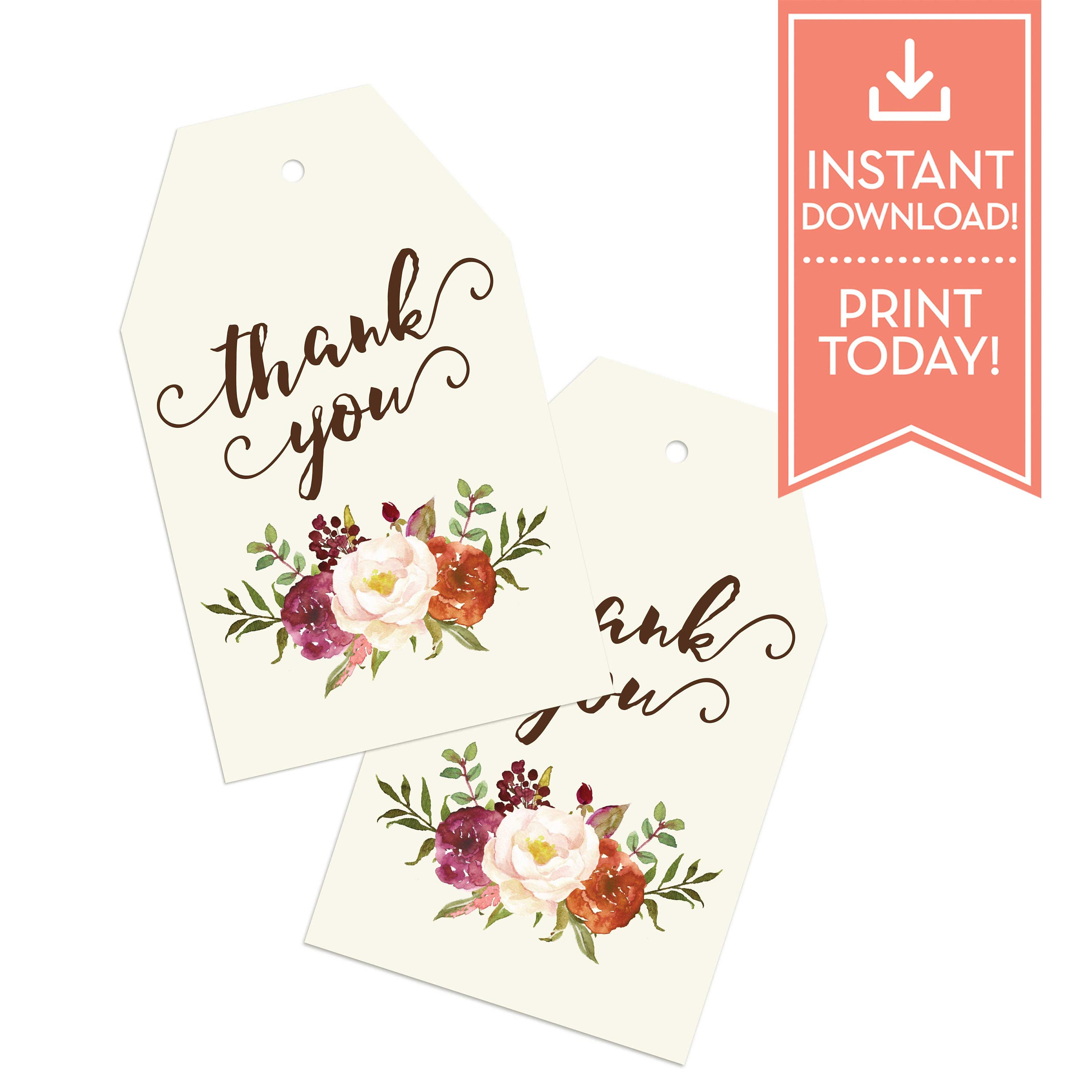 Thank You Tags Tea Bag - Bridal Shower Favor Tags - Baby Shower ...