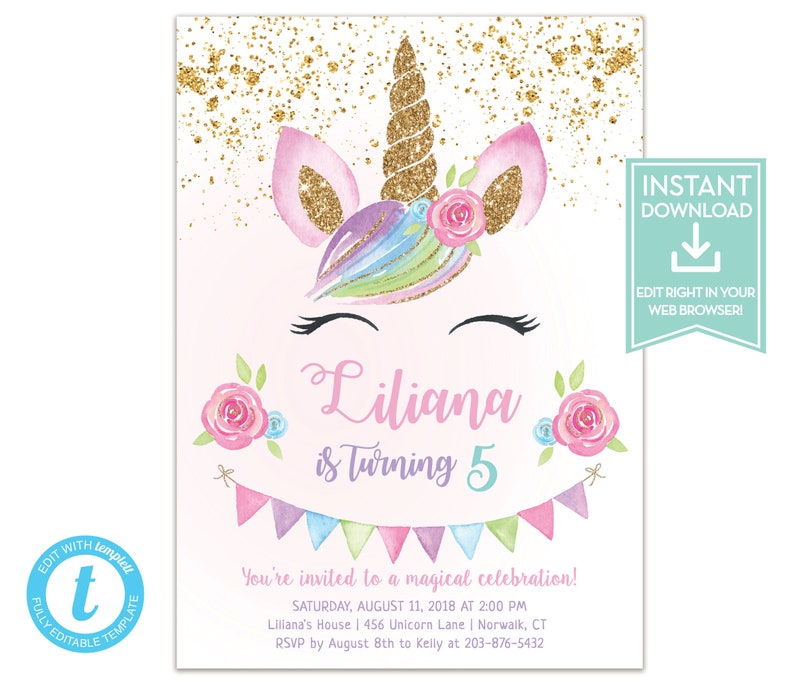 Unicorn Birthday Invitation Instant Download Party