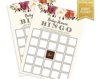 Baby Shower Bingo Game - Fall Floral Baby Shower Games - Printable Bingo Cards - Instant Download - LR1086