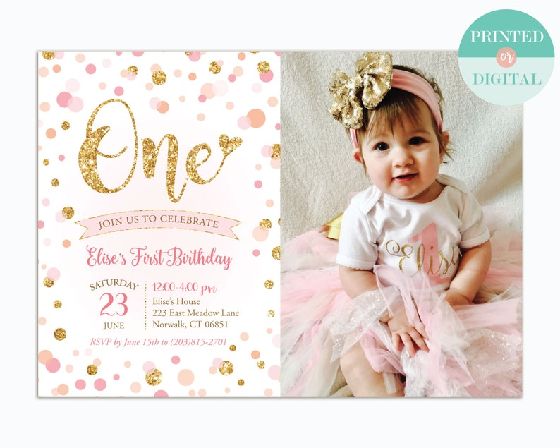 First Birthday Invitation Girl Pink And Gold Confetti