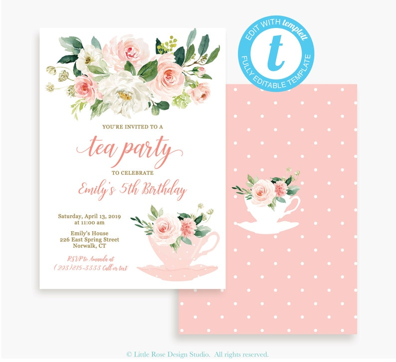 Girls Birthday Tea Party Invitation Instant Download Baby Shower Bridal LR2034T